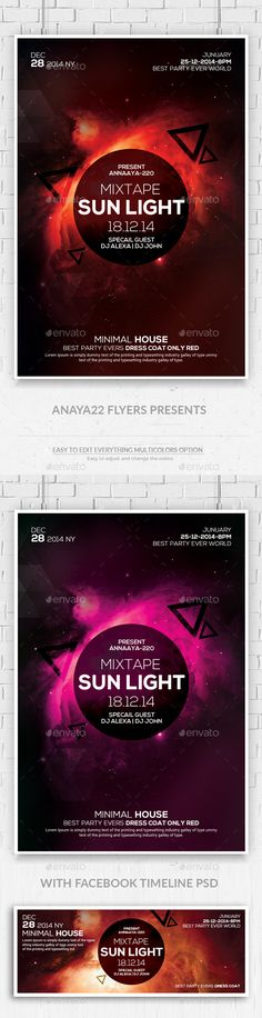 Electro Space Sound Flyer witn Facebook timeline  - Clubs & Parties Events