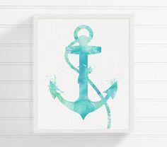 Watercolor Anchor Anchor Art Print Nautical by MiaoMiaoDesign