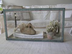Old Fish Tank as Glass Display Whitewashed Cottage chippy shabby chic french country rustic swedish idea