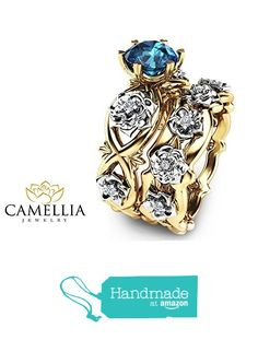 2 Tone Gold Topaz Bridal Ring Set Unique Natural Topaz Ring Set 14K Gold Flower Design Engagement Ring Set from Camellia-Jewelry http://www.amazon.com/dp/B019OWR5SE/ref=hnd_sw_r_pi_dp_lTYlxb0Y44NK7 #handmadeatamazon