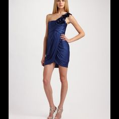 BCBG MAX AZRIA Silk Blue Dress Beautiful One Shoulder Draped Blue Dress. Size S. Wore once, and in excellent condition. Back zip closure. It is dry cleaned and ready to wear. No stains, and no tears. BCBGMaxAzria Dresses Prom