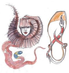 ZEEZEEYOU FASHION PROJECT – studio of snake-shaped accessories –  based on existing models: sandals by #Gucci and hat by #PhilipTreacy