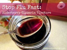 Stop the Flu: Elderberry Glycerin Tincture, recipe, DIY, homemade, natural remedy, herbal remedy