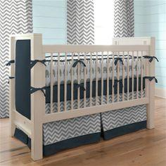 Navy and Gray Elephants Crib Bedding | Carousel Designs #baby #crib #boy