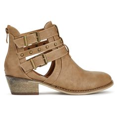 ShoeDazzle Booties Morissa Womens Brown ❤ liked on Polyvore featuring shoes, boots, ankle booties, booties, brown, brown bootie, studded booties, bootie boots, ankle boots and brown boots