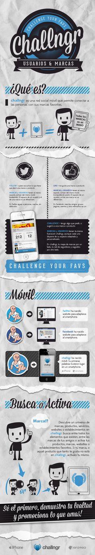 Infografía challngr vs socialmedia. Conectar usuarios y marcas
