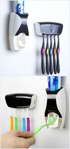 Automatic Toothpaste Squeezer with Toothbrush Holder Set. You can't get any lazier than this.