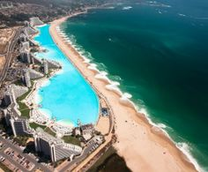 San Alfonso Del Mar , Chile This beach lays between the biggest swimming pool in the world and the biggest ocean on Earth.