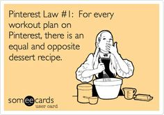 Pinterest Law #1: For every workout plan on Pinterest, there is an equal and opposite dessert recipe.