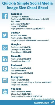 Quick & simple social media image size cheat sheet