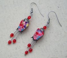 Earrings with origami beads in japanese paper by terredepassion, $20.00