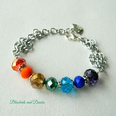 Rainbow Crystal Glass and Chainmaille Bracelet - The Supermums Craft Fair