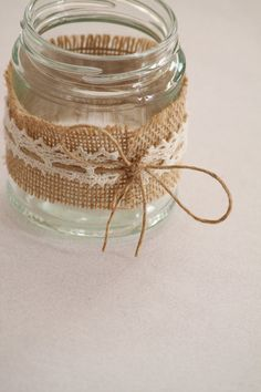 Items similar to Hessian & Lace Glass Jars Tealight Holders (Country / Rustic / Vintage Wedding Props Decor) Australia on Etsy Diy Candle Holders, Diy Candles, Candle Jars, Handmade Candles, Wedding Props, Diy Wedding Decorations, Wedding Ideas, Wedding Notes, Bottles And Jars