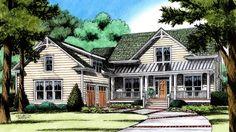 Country Farmhouse Plan With Courtyard Garage HWBDO77190 + Farmhouse Home Plans from BuilderHousePlans.com