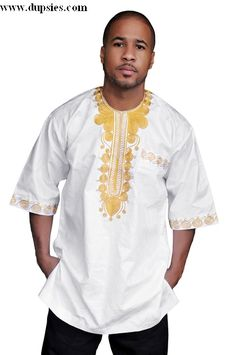mens african brocade special occasion shirt | White African Brocade Dashiki Shirt with Elaborate Gold Embroidery ...