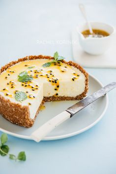 White Chocolate + Passionfruit Cheesecake | Rachel Korinek Food Photographer