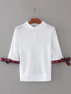 Camiseta ribete a rayas y puño con cordón - blanco -Spanish SheIn(Sheinside)