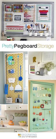 Pretty Pegboard Storage! • Ideas & Tutorials! Maybe one of these pegboards inside a craft room/sewing room. #sewing #room #organization
