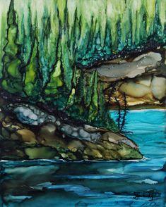 """Kenai Brookside"", alcohol ink painting by Alaskan ink artist Deb Lestenkof"