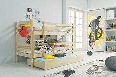 POSCHODOVÉ POSTELE | Trojlôžkové poschodové postele | Poschodová posteľ s prístelkou - ERIK 3 - 185x80cm (borovica) | Internetový obchod s posteľami pre deti a mládež. Veľký výber, Najlepšie ceny.
