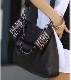 Black leather studded chain bag