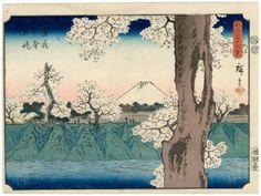 33. 不二三十六景 武蔵小金井堤 (The Embankment at Koganei in Musashi Province)