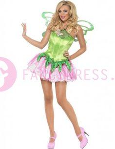 Dit Fee kostuum bestaat uit:  Een korte groen/roze jurk met roze vlinder decoratie.  Een paar groene feeën vleugels.    Maten voor dit kostuum zijn:  Small vrouw maat 36-38  Medium vrouw maat 40-42