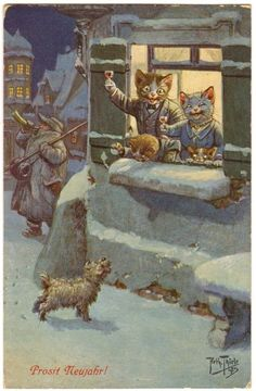 Postcard Thiele Cats New Year Toast at Window T s N Series