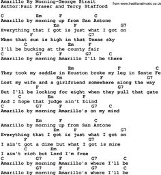 Country music song: Amarillo By Morning-George Strait lyrics and chords lyrics country george strait Great Song Lyrics, Guitar Chords And Lyrics, Guitar Chords For Songs, Music Guitar, Acoustic Guitar, Guitar Art, Country Love Songs, Country Music Lyrics, George Strait Lyrics