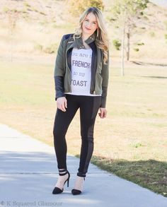 You Are the French to My Toast :: Quilted Panel Leggings and Army Green Contrast Leather Jacket - Glamour-Zine