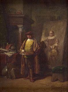 Hendricus Johannes Scheeres (Den Haag 1829-1864), Rembrandt in zijn atelier, 1857, paneel 20,5x15, Simonis & Buunk