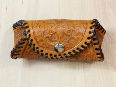 Floral Hand Carved Leather Purse  Leather by TinasLeatherCrafts. Repin To Remember.