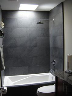 Decorating. Grey Tile Bathroom Designs. Small Grey Tile Bathroom Designs with Gray Stained Wall and Stainless Modern Wall Shower