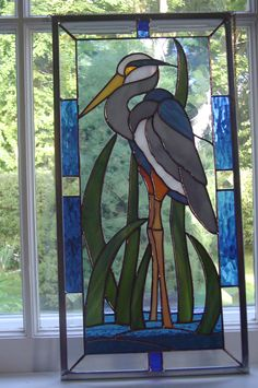 Blue heron in stained glass.