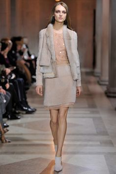 SHEARLING AND WOOL JACKET MATCHING SKIRT & EMBROIDERED TOP