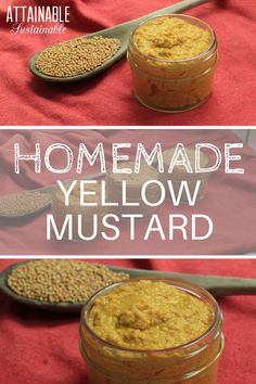 Three ingredients, five minutes of mixing, and in a couple days? This spicy yellow mustard recipe - a whole grain mustard - is mind-bogglingly easy and it tastes great! Real Food Recipes, Cooking Recipes, Yummy Food, Pate Recipes, Homemade Spices, Homemade Recipe, Homemade Food, Homemade Mustard, Mustard Recipe