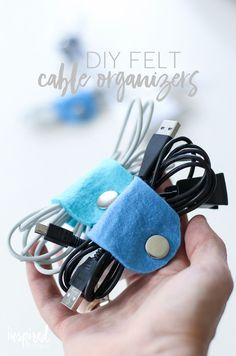 DIY Felt Cable Organizers | a fun colorful and cute way to stay organized!