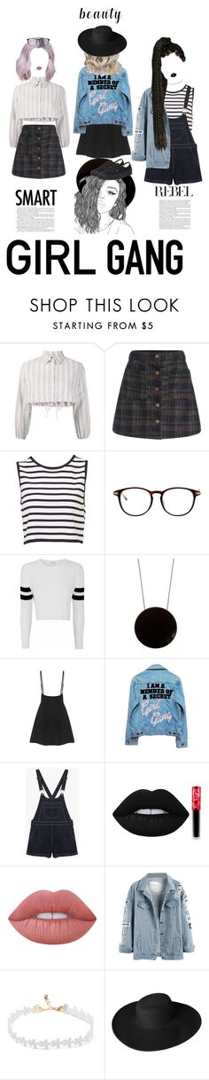 """""""The Girl Gang"""" by mickie-pcosta ❤ liked on Polyvore featuring Lisa Marie Fernandez, Glamorous, Sportmax, High Heels Suicide, Lime Crime, Dorfman Pacific and Vans"""