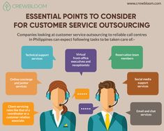 """Get to know about more about Essential Points for Customer Service Outsourcing with """"CrewBloom"""". They serve you with the best professionals at the best prices. To know more visit URL. Virtual Receptionist, Leadership Skill, List Of Tools, Customer Service Representative, Front Office, Job Description, Communication Skills, Philippines, Social Media"""
