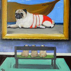 Pug Dog Art Print /Miss Mayflower...at the by dogwagart on Etsy, $13.50
