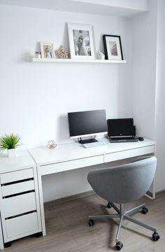Living room - Home office - IKEA desks - Micke - picture ledges - minimalist decor