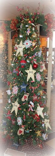 Skinny Country Christmas kitchen tree