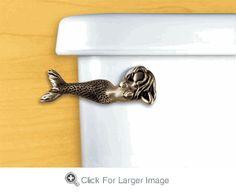 How cute is this Mermaid toilet handle! Would look awesome in a beach themed bathroom. Diy Bathroom, Nautical Bathrooms, Beach Bathrooms, Bathroom Ideas, Pirate Bathroom, Ocean Bathroom, Seashell Bathroom, Master Bathroom, Mermaid Bathroom Decor