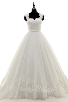 Perfect Queen Anne Court Train Tulle and Lace Ivory Sleeveless Wedding Dress with Appliques and Sashes LWLT15034
