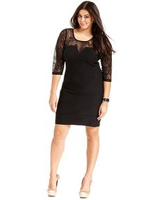 Trixxi Plus Size Dress, Three-Quarter-Sleeve Lace Illusion - Plus Size Dresses - Plus Sizes - Macy's