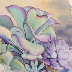 Watercolor Succulents, Watercolor Cactus, Watercolour Painting, Succulents Painting, Watercolors, Watercolor Projects, Watercolor Techniques, Art Floral, Agaves