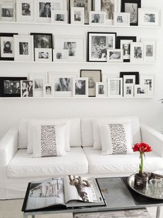 I like this idea... you can add lots of framed photos, move them around & switch them out without a lot of commitment (no holes in the wall!) **Like this pin?** Come check out the rest of my boards & follow me! :):
