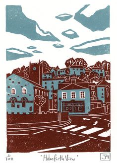 A linocut print entitled 'Holmfirth View'. A landscape of a view of the town of Holmfirth in West Yorkshire. Linocut Prints, Poster Prints, Art Prints, Block Prints, Linoprint, Landscape Prints, Gravure, Woodblock Print, West Yorkshire