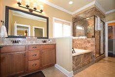 Traditional Master Bathroom with Complex Granite, Undermount Sink, Crown molding, Double sink, Philadelphia Travertine