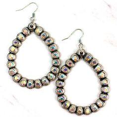 Open Teardrop with rhinestone earrings